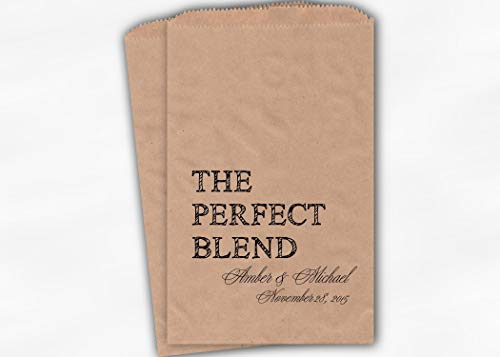 The Perfect Blend Wedding Favor Bags for Coffee, Trail Mix in Black - Personalized Set of 25 Kraft Paper Bags (0219)