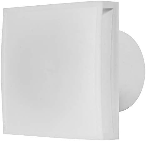 Ventilador de baño de 125 mm de diámetro con temporizador, con frontal blanco, ventilador de pared para baño, cocina, silencioso para espacios pequeños