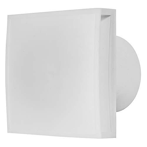 Ventilador de baño de 125 mm de diámetro con sensor de humedad y temporizador, con frontal blanco, ventilador silencioso