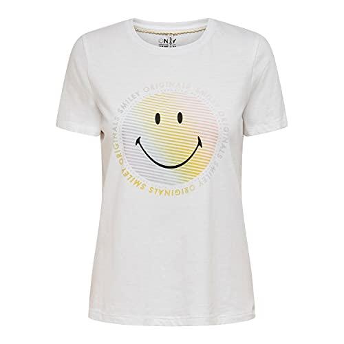 Only ONLSMILEY Life REG S/S Top Box JRS Camiseta, Blanco Brillante. Impresión: Original, M para Mujer