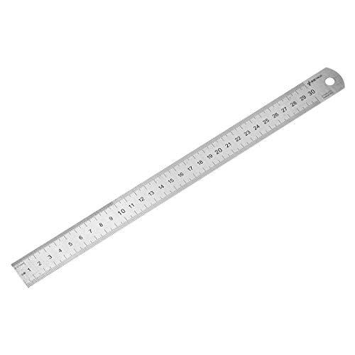 Regla recta 30 cm herramienta métrica de acero inoxidable con agujero para colgar.
