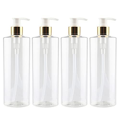 ZEOABSY 4 Piezas 500ml Envase Cosmético Botella de Pet Plástico Transparente con Oro/Blanco Bomba Dosificador Diseñadas para Contener Gel Baño Champú Loción