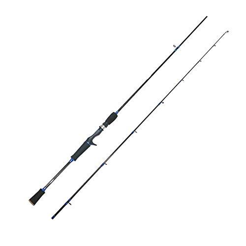 Hadristrasek Caña de Pescar Caña de Pescar Poder Spinning Rod del carbón de lubina Baitcasting de la caña de Pescar alimentador de Barra-m Blue_2.4 Varilla Colgante (Color : Blue, Size : 2.4 m)