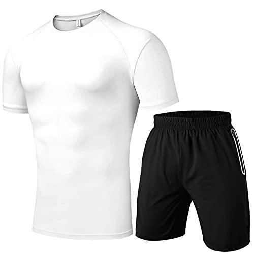 Conjunto de 2 piezas para hombre, cintura elástica, bolsillos informales, pantalones cortos de manga corta sólida, conjunto de chándal Blanco L