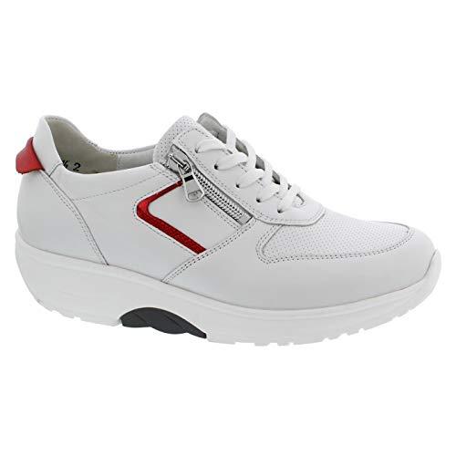 Waldläufer H-Sonja, Dynamic-Sohle, Sneaker, Glattleder, Weiss/rot, Weite H 999004-300-762, Größe 36