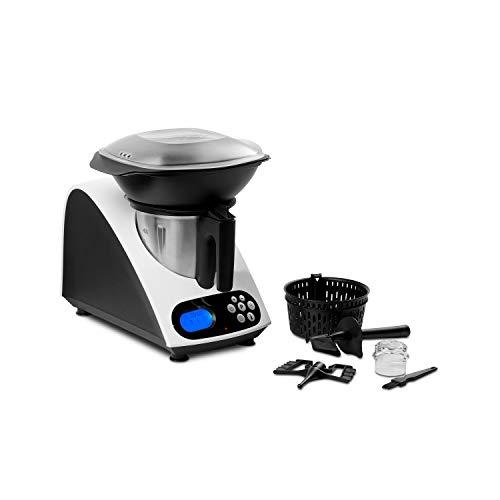 MEDION Küchenmaschine mit Kochfunktion, 1000 Watt Leistung, 2 Liter Edelstahlschüssel, Koch und Mixaufsatz, Dampfgaraufsatz, Rezeptbuch, MD 16361