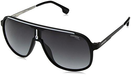Carrera Men's 1007/S Rectangular Sunglasses, Matte Black/Dark Gray Gradient, 62mm, 10mm