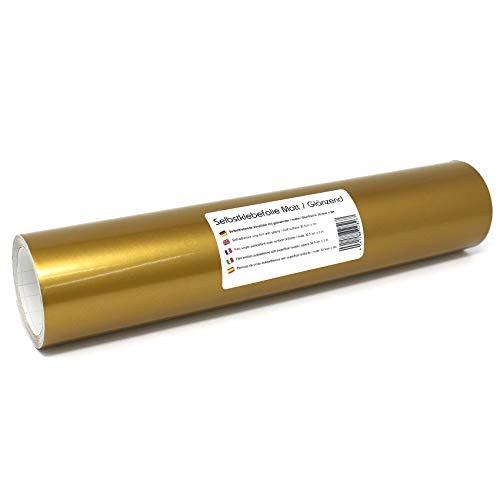Finest Folia (12,89€/m² Selbstklebende Plotterfolie Bastelfolie 31cm x 3m 105 Farben Matt/Glänzend Möbelfolie Folie Bastelfolie zum Plotten (091 Gold, Glanz)