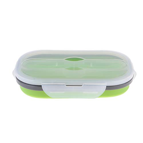 IPOTCH Conteneur de Lunch Étanche Portable Boîte de Voyage en Silicone pour Extérieur de 850ml - Vert