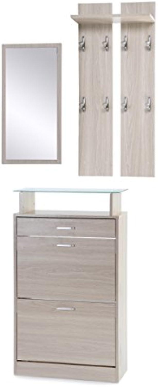 Ts-ideen 3er Set Garderobe Spiegel Schuhkipper in Eichenholzoptik Schuhschrank mit Schublade und Ablageflche aus Glas