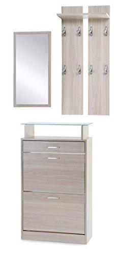ts-ideen 3er Set Garderobe Spiegel Schuhkipper in Eichenholzoptik Schuhschrank mit Schublade und Ablagefläche aus Glas
