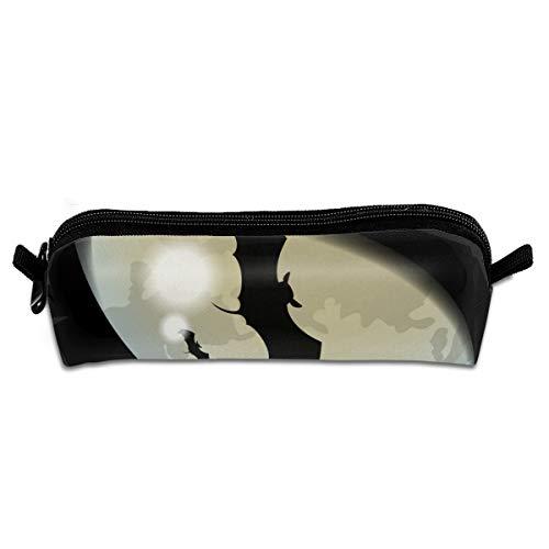 Closeup Auge von Halloween schwarze Katze mit Fledermaus Schüler Federmäppchen Inhaber Office Storage Organizer Federbeutel für Schule Büro Frauen Männer Student Teens Kinder 8,3 X 2,2 X 2 Zoll
