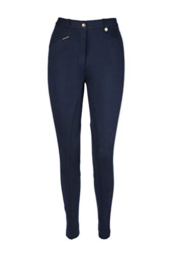 Pantalones de Montar a Caballo para Niños/Niñas - Suaves y Elásticos - Jodhpurs Equinos - Azul Marino, 18''(46cm)