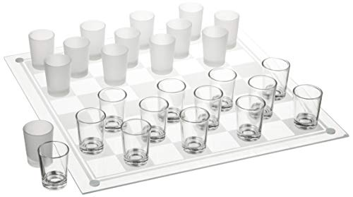 Crystal Clear Checkers Shot Drinking Game Set w/ 24 Lead-Free Glass Shots & Game Board-Ideal Gift for Birthdays, Father's Day & Housewarming, 14""