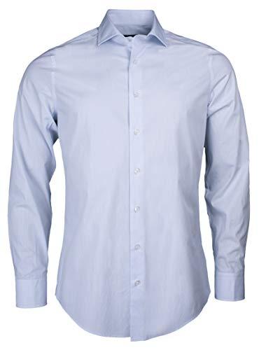 Roy Robson Herren Hemd aus Baumwolle Slim Fit Langarm Bügelleicht Casual Business (hell Blaue Streifen, 42)