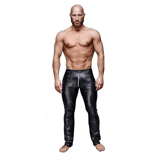 SHANGXIAN Hombres Pantalones Cuero De Imitación Negro Casual Pantalones Slim Fit Night Club Baile Pantalones Largos,XXL