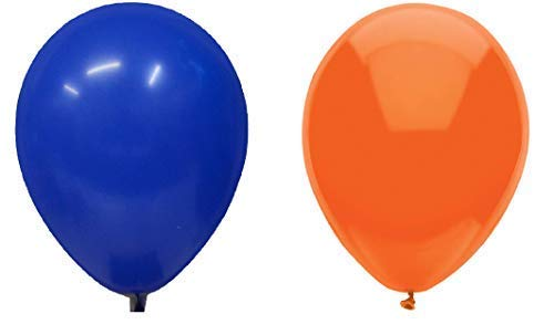 INERRA Globos - Paquete de 50 Mezclado (25 X Azul Turquí& 25 X Naranja) Látex 10
