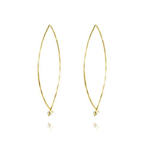 Liuanan Jewellery 18K Gold Curved Threader Earrings for Women Girls Wire Needle Drop Dangle Hoops Earrings Jewelry Gift