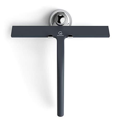 GÜTEWERK rasqueta limpiacristales para Ducha y mampara Profesional con Colgador Ventosa - Negro - 23 cm - sin taladrar ni Pegar - Silicona y Acero Inoxidable