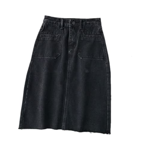 N\P Cintura alta una línea de mezclilla falda de las mujeres lápiz recto falda vintage retro