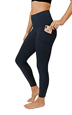 90 Degree By Reflex Power Flex Yoga Pants - High Waist Squat Proof Ankle Leggings with Pockets for Women - Dark Sea - Small
