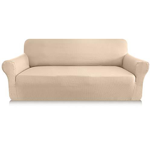 Granbest - Funda de sofá gruesa de 1 pieza, funda de sofá extensible de 3 plazas, antideslizante, para sofá, protector de muebles, tejido de licra jacquard (3 plazas), color beige