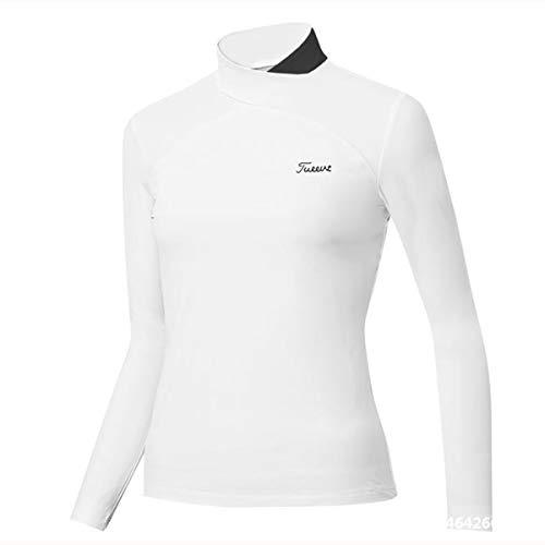 LGQ Golf Pullover Damen Schnelltrocknende Und Atmungsaktive Golfkleidung Stehkragen Slim T-Shirt Bequeme Golfjacke,Weiß,S