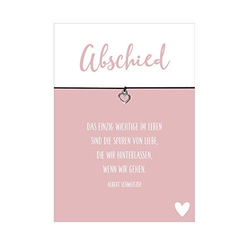 Glücksschmiedin Wunscharmband Trauer und Trost Abschied mit Herz Anhänger versilbert, elastischem Textilband in schwarz und liebevoller Karte