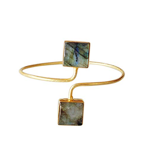 Handmade Gold Plated Labradorite Gemstone Designer Cuff Bracelet For Women