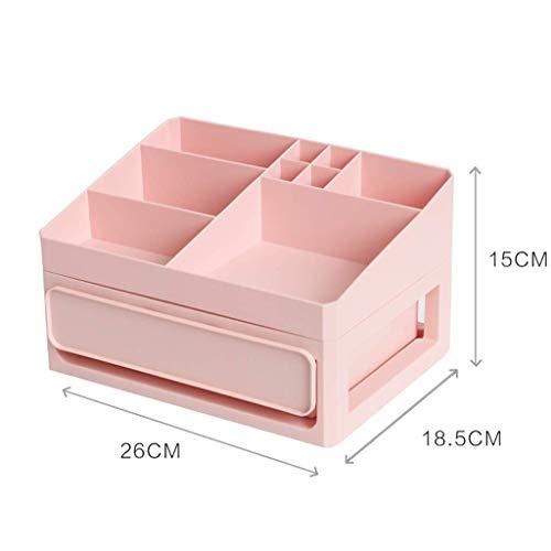BOX Multicouche Type de Tiroir Cosmétiques Boîte de Rangement En Plastique de Bureau Rouge À Lèvres Bijoux Affichage Soins de La Peau Produits Boîte de Rangement (Taille: 26 × 18,5 × 15 Cm),Rose,26 *
