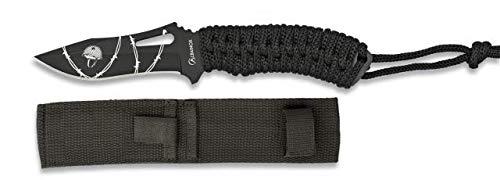 Cuchillo encordado Negro Total 18 cm para Caza, Pesca, Camping, Outdoor, Supervivencia y Bushcraft Albainox 32418 + Portabotellas de regalo