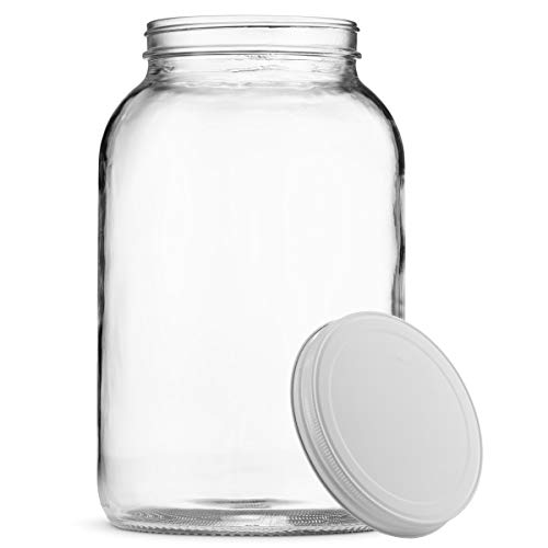 Paksh Novelty 1-Gallon Glass Jar Wide Mouth with Airtight Metal Lid - USDA Approved BPA-Free Dishwasher Safe Large Mason Jar for Fermenting, Kombucha, Kefir, Storing and Canning Uses, Clear (1 Jar)