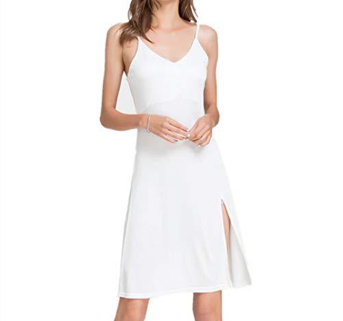 Zijden Jarretel Nachthemd Vrouwelijkheid Split Halflange Pyjama Losse Zijden Onderjurk Petticoat