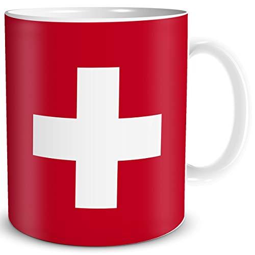 Tasse Flagge Schweiz Länder Flaggen Geschenk Schweizer Souvenir Suisse für Reiselustige Frauen Männer Arbeit Büro Weltenbummler