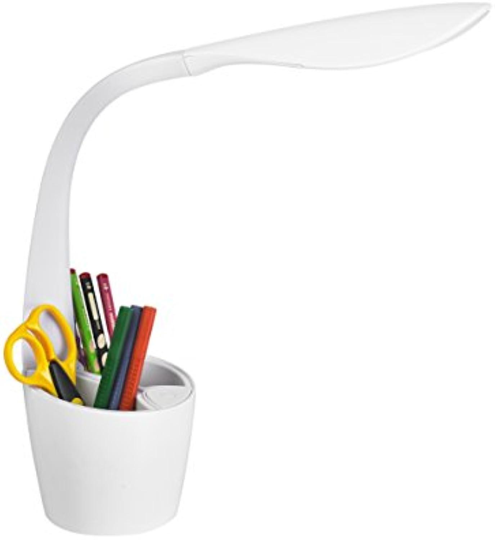 Alco 9059 LED Schreibtischleuchte Büroleuchte ,Lichtquelle mit Utensilienbox Schreibtischbutler, 4 fach dimmbar mit flexiblem Leuchtenarm in drei peppigen Farben (Wei)