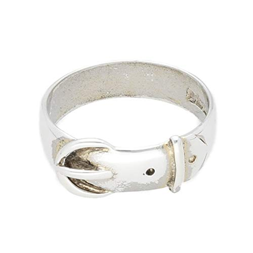 Jollys Jewellers Men's Sterling Silver Buckle Ring (Size R) 8mm Widest
