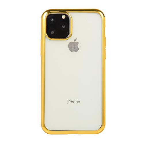 HPPS - Carcasa de silicona ultrafina para iPhone 11, transparente, anticaídas, de goma, para iPhone 11 dorado talla única