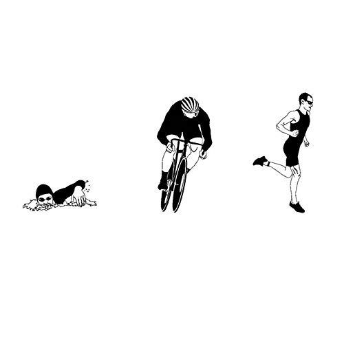 DOUYUAN Triathlon Wandaufkleber Auto Schwimmer Aufkleber Schwimmen Poster Vinyl Wandtattoo Dekoration Wandbild Triathlon Wandtattoo 58x140cm