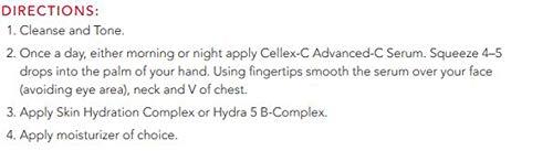 Cellex-C C Serum Directions