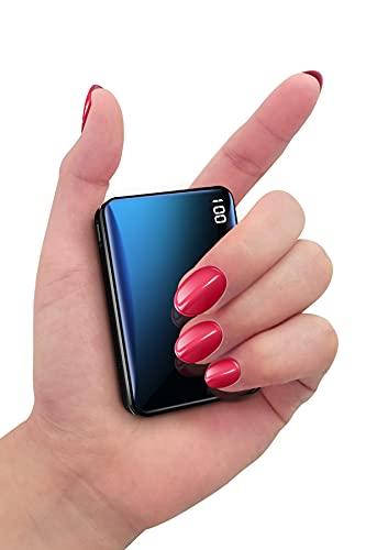 Bscame Powerbank 10000mAh,USB C Kleiner und Leichter Externer Akku Mini, Extra Kompakt, 2 USB Ausgänge & LCD Anzeige Kompatibel mit iPhone, Samsung, Huawei, iPad & mehr (Schwarz)