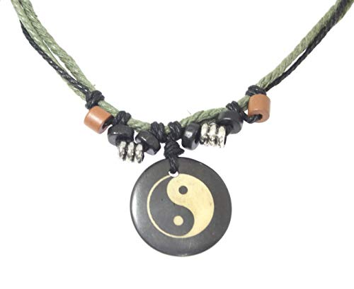 Surfer Cord Necklace with Yin Yang Carved Bone Pendant - Fully Adjustable - Black & Green Cord