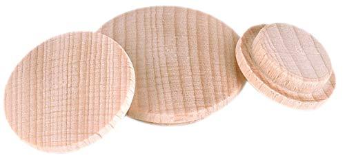 Prima Online Holzabdeckkappen Holz Abdeckkappen Buche unbehandelt Bohrloch 15mm [10 Stück] (Bohrloch 15MM [17.B15])