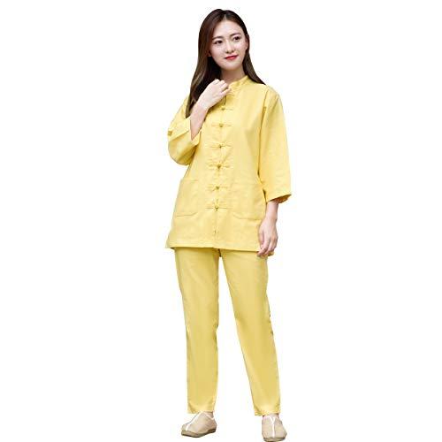 KSUA Women Martial Arts Uniform Chinese Traditional Kung Fu Clothing Zen Meditation Tai Chi Suit 3/4 Sleeves, Yellow US S/Tag M