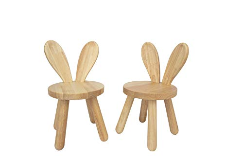 Wooden Kids Chair Set by qualisen (Pack of 2), Naturally Finished Solid Hardwood, Bunny Ears Back, Handmade, for Family, Kindergarten Eating, Reading, Playing, Boys Girls Age 2+ (Natural)