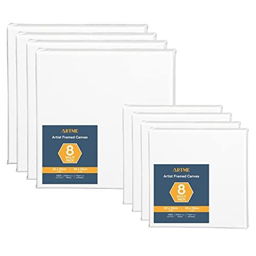 Artme Lienzos preestirados 8 piezas (20x20CM-4pk, 30x30CM-4pk) de artista/ 280GSM 100% algodón/blanco/triple imprimado/libre de ácido/grano medio/ 1.7cm - acrílico/aceite