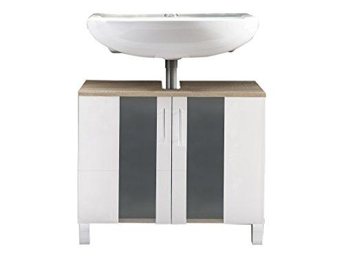 Maisonnerie Meuble sous lavabo avec Beaucoup d'espace de Rangement, Porto, Chêne Scié/Verre Blanc givré, 65 x 54 x 31 cm
