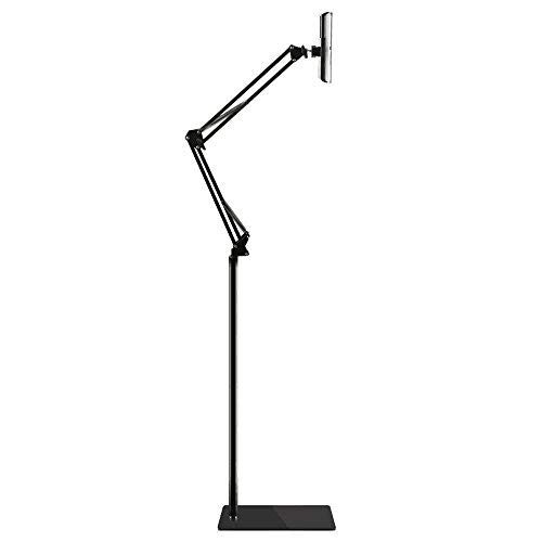 Spessn Adjustable Floor Stand Universal 360-degree Rotatable Metal Tablet Holder Compatible Samsung Galaxy Tab and Phones(Black)
