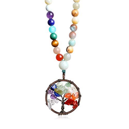 COAI Collar Mala con Cuentas de Amazonita Multicolor y 7 Chakras con Amuleto Árbol de la Vida