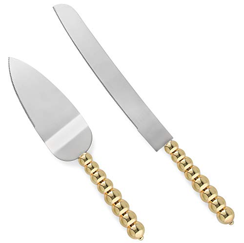 Homi Styles wedding cake knife and server set | Elegant Gold Color With Beaded Handles & Premium 420 Stainless Steel Blades | Cake & Pie Serving Set For Wedding Cake, Birthdays, Anniversaries, Parties