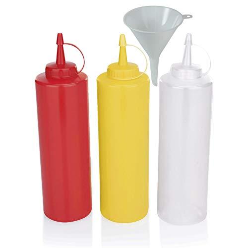 Viva Haushaltswaren - 3 x Quetschflasche 0,7 L Set, Gastro Dosierflaschen leer für Ketchup / Mayonnaise / Senf, BPA frei, BBQ & Küchen Squeeze Flasche aus Kunststoff, rot / gelb / weiß, inkl. Trichter